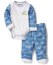 Wonderchild Full Sleeves Onesies And Legging Bicycle Print - Cream N Blue