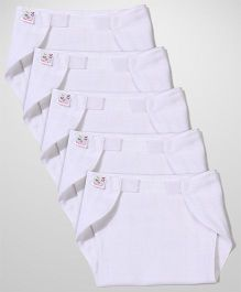 Tinycare Velcro Closure Plain White Nappy Set Extra Large - Set Of 5
