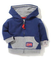 Pumpkin Patch Hooded Jacket Truck Print - Blue And Grey