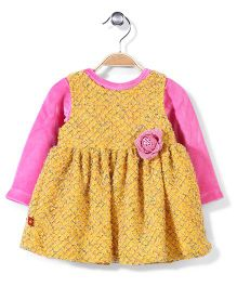 Yellow Duck Self Pattern Frock With Inner Top - Yellow And Pink