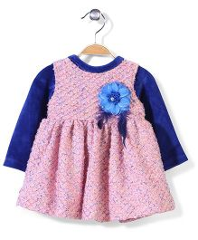 Yellow Duck Self Pattern Frock With Inner Top - Pink And Royal Blue