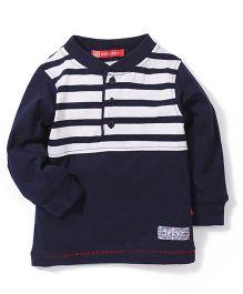 Kidsplanet Full Sleeves T-Shirt - Dark Grey And Cream