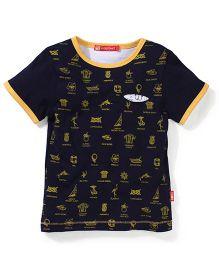 Kidsplanet Round Neck Multi Print T-Shirt - Navy Blue