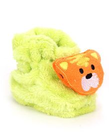 Cute Walk Booties Teddy Applique - Orange Green