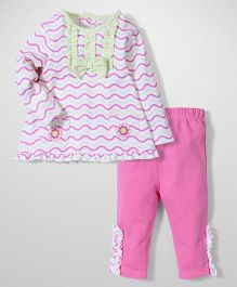 Wonderchild Full Sleeves Top And Legging - White And Pink