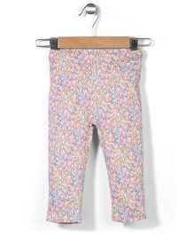 Hallo Heidi Full Length Pant Floral Print - Pink Grey