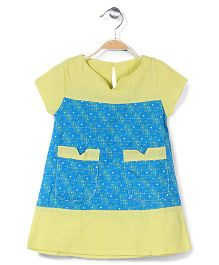 Childhood Short Sleeves Frock With Pockets - Green & Blue