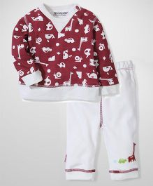 Wonderchild Full Sleeves T-Shirt And Pant Animal Print - Maroon And Cream