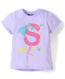 Hallo Heidi Half Sleeves T-Shirt Super Star Print - Purple