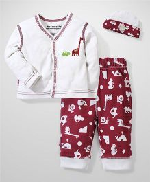 Wonderchild Tshirt and Pant Set - White and Maroon