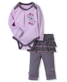 Full Sleeves Onesies And Skirted Legging Floral Print - Lavender N Grey