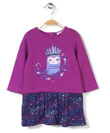 Pumpkin Patch Long Sleeves Dress Owl Print - Purple And Blue