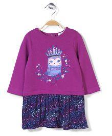 Pumpkin Patch Long Sleeves Dress Owl Print - Purple And Blue