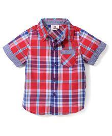 Hallo Heidi Half Sleeves Checks Shirt - Red