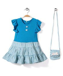 De Berry Contrast Pattern Frock With Sling Pouch Bag - Blue And White