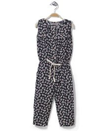 Jolly Jilla Floral Print Jumpsuit - Black