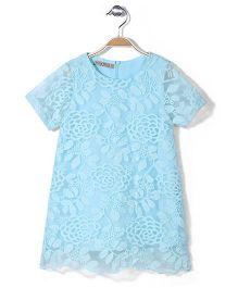 Jolly Jilla Half Sleeves Top Floral - Aqua Blue