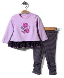 Wonderchild Full Sleeves Top And Legging - Purple And Black