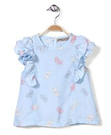 Jolly Jilla Short Sleeves Top Bow Print - Sky Blue