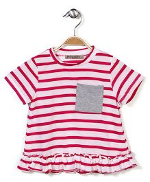 Jolly Jilla Half Sleeves Striped Dress - Fuchsia Pink And White