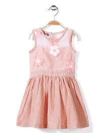 Jolly Jilla Striped Frock Floral Embroidery - Peach