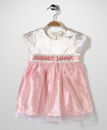 Bebe Wardrobe Short Sleeves Party Frock Bow Motif - Pink And Cream
