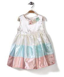 Bebe Wardrobe Sleeveless Dress Floral Applique - Cream And Aqua