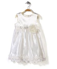Bebe Wardrobe Sleeveless Party Frock Floral Motif N Lace - Cream