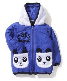 Babyhug Panda Applique Hooded Jacket - Royal Blue