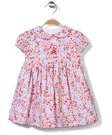 Bebe Wardrobe Floral Print Frock - Pink And White