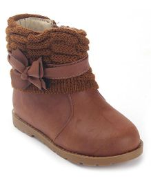 Doink Bow Deisgn Ankle Length Boots - Brown