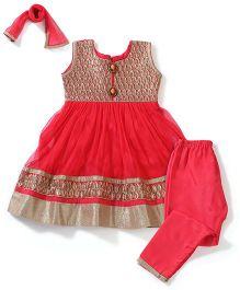 Babyhug Embroidered Front Kurta Churidar Set - Red