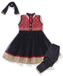 Babyhug Sleeveless Kurti Churidar With Dupatta Floral Design - Black