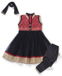 Babyhug Sleeveless Kurti Churidar With Dupatta Floral Design - Black