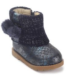 Doink Fur Balls Ankle Length Boots Zip Closure - Navy