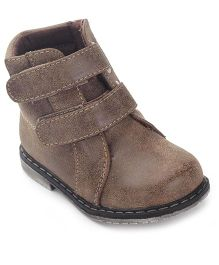 Doink Ankle Length Boots Velcro Closure - Dark Brown