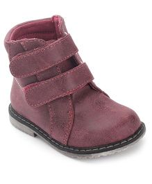 Doink Ankle Length Boots Velcro Closure - Dark Pink