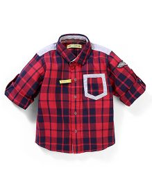 Gini & Jony Full Sleeves Checks Shirt - Red Navy Blue