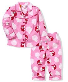 Pumpkin Patch Full Sleeves Night Suit Owl Print - Pink
