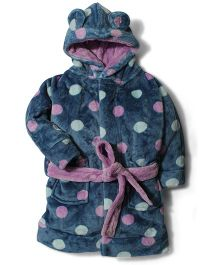 Pumpkin Patch Full Sleeves Hooded Night Gown Polka Dot - Blue