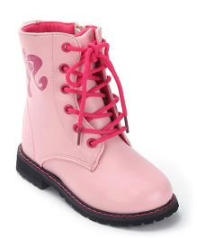 Barbie Printed Boots Tie Up Closure - Pink