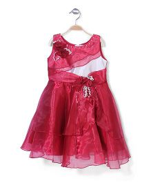 Little Coogie  Dress With Flower Applique - Pink