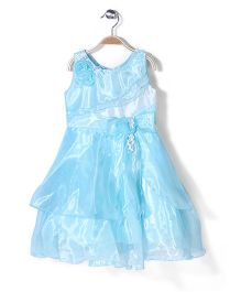 Little Coogie  Dress With Flower Applique - Blue