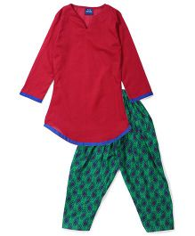 Kids On Board Suit Set With Jacket - Red & Green