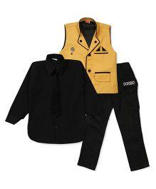 Kids On Board Shirt Waistcoat & Pant Set - Yellow
