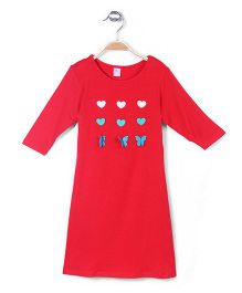 De Berry Long Sleeves Top Heart Accent - Red