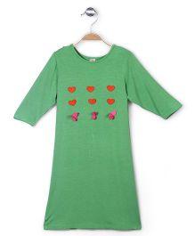 De Berry Long Sleeves Top Heart Accent - Green