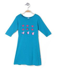 De Berry Long Sleeves Top Heart Accent - Turquoise