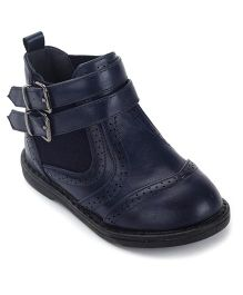 Doink Ankle Length Boots Dual Buckle Closure - Navy