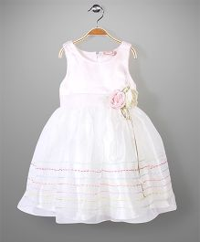 Little Coogie Sleeveless Party Dress Floral Applique - Light Pink